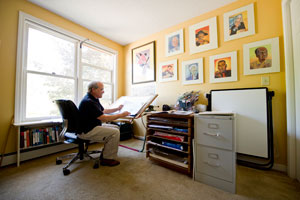 Author/Illustrator D. B. 					Johnson in his studio